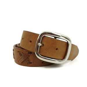 Brown X-Weave Plain Design Brazilian Leather Belt